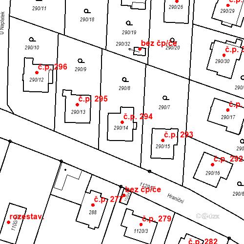 Katastrální mapa Stavební objekt Oldřišov 294, Oldřišov