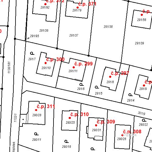 Katastrální mapa Stavební objekt Oldřišov 299, Oldřišov