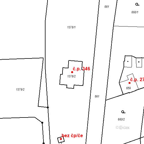 Katastrální mapa Stavební objekt Hladké Životice 346, Hladké Životice