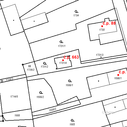Katastrální mapa Stavební objekt Šenov u Nového Jičína 663, Šenov u Nového Jičína