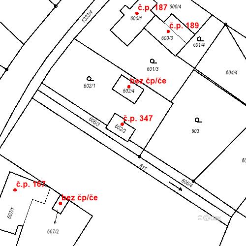 Katastrální mapa Stavební objekt Hladké Životice 347, Hladké Životice