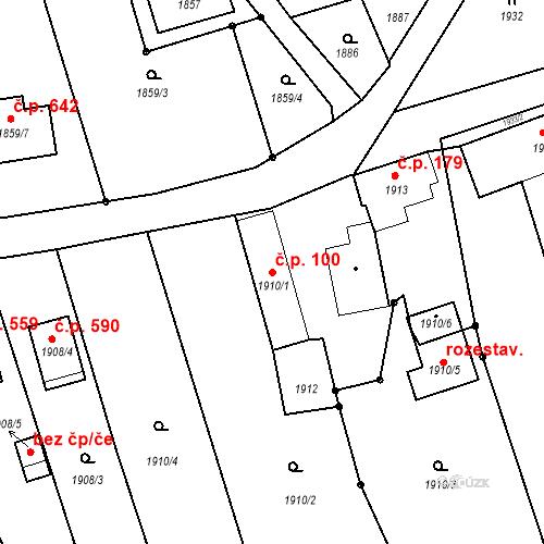 Katastrální mapa Stavební objekt Krhová 100, Krhová
