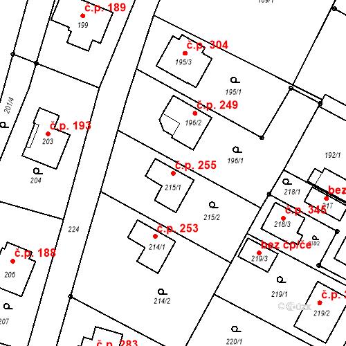 Katastrální mapa Stavební objekt Hrachovec 255, Valašské Meziříčí
