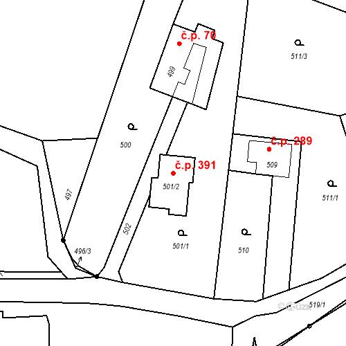 Katastrální mapa Stavební objekt Hladké Životice 391, Hladké Životice