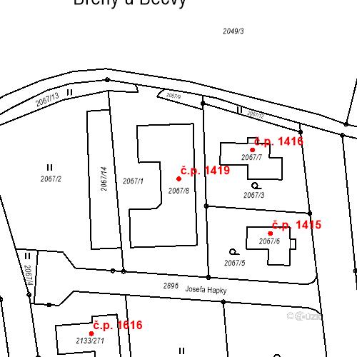 Katastrální mapa Stavební objekt Valašské Meziříčí 1419, Valašské Meziříčí
