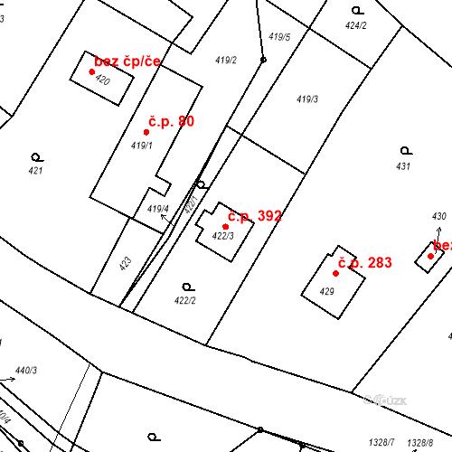 Katastrální mapa Stavební objekt Hladké Životice 392, Hladké Životice