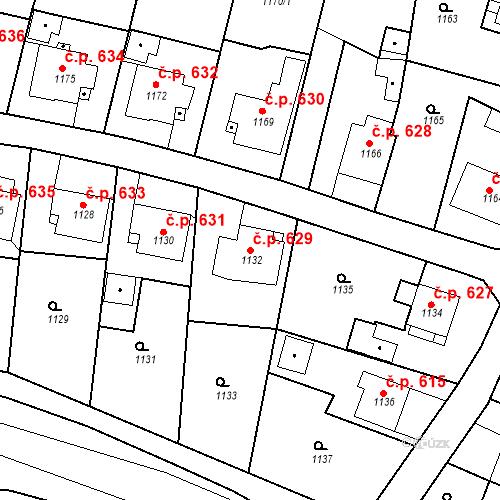 Katastrální mapa Stavební objekt Brumov 629, Brumov-Bylnice