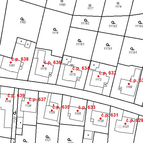 Katastrální mapa Stavební objekt Brumov 634, Brumov-Bylnice