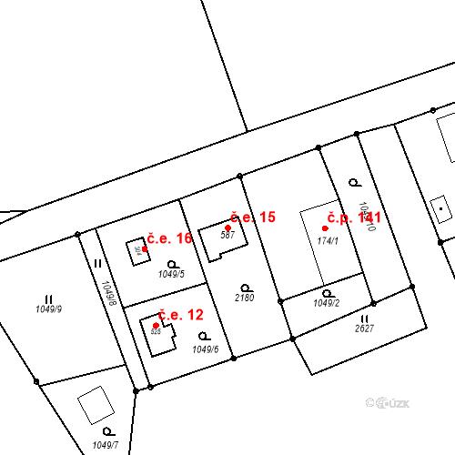 Katastrální mapa Stavební objekt Stará Ves 15, Bílovec