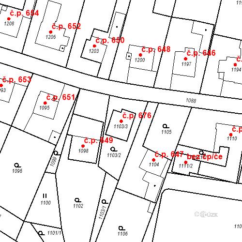 Katastrální mapa Stavební objekt Brumov 676, Brumov-Bylnice