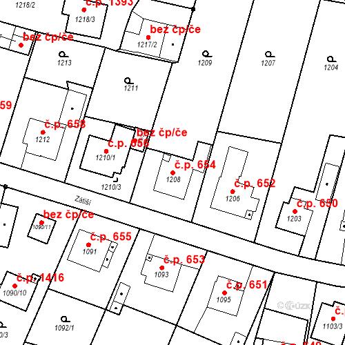 Katastrální mapa Stavební objekt Brumov 654, Brumov-Bylnice