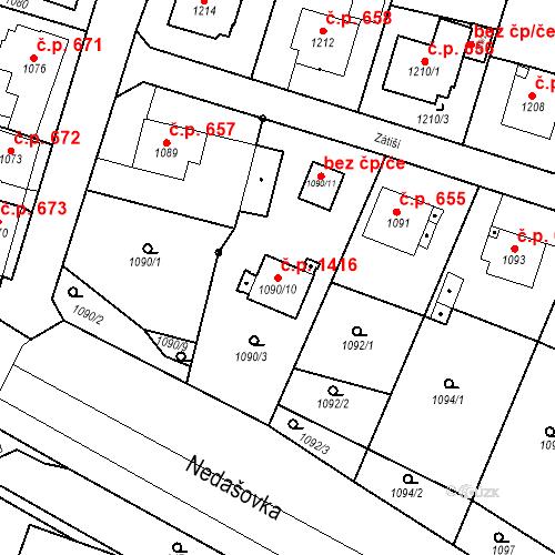 Katastrální mapa Stavební objekt Brumov 1416, Brumov-Bylnice