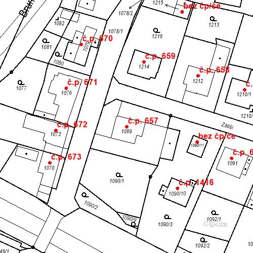 Katastrální mapa Stavební objekt Brumov 657, Brumov-Bylnice