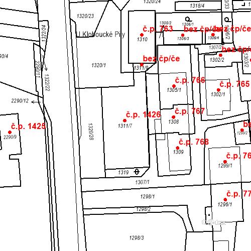 Katastrální mapa Stavební objekt Brumov 1426, Brumov-Bylnice