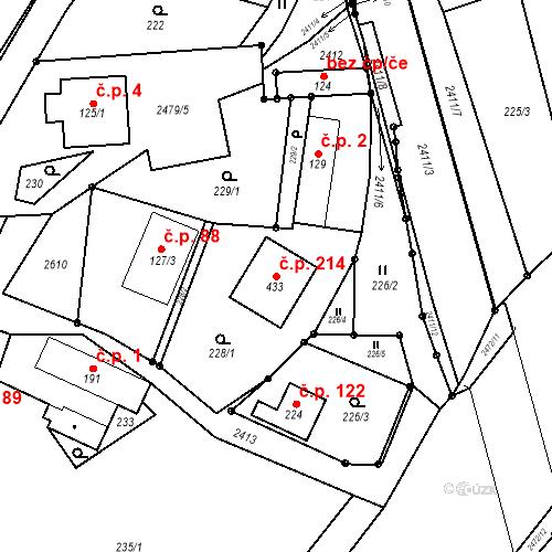 Katastrální mapa Stavební objekt Leskovec 214, Leskovec
