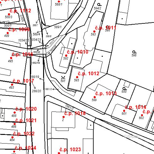 Katastrální mapa Stavební objekt Brumov 1012, Brumov-Bylnice