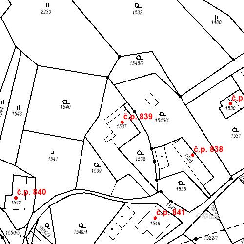 Katastrální mapa Stavební objekt Brumov 839, Brumov-Bylnice