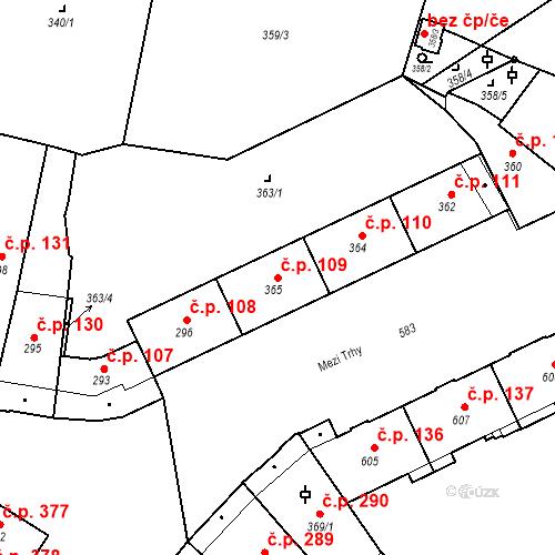 Katastrální mapa Stavební objekt Město 109, Opava