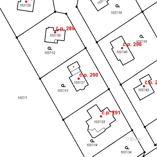 Katastrální mapa Stavební objekt Bernartice nad Odrou 290, Bernartice nad Odrou
