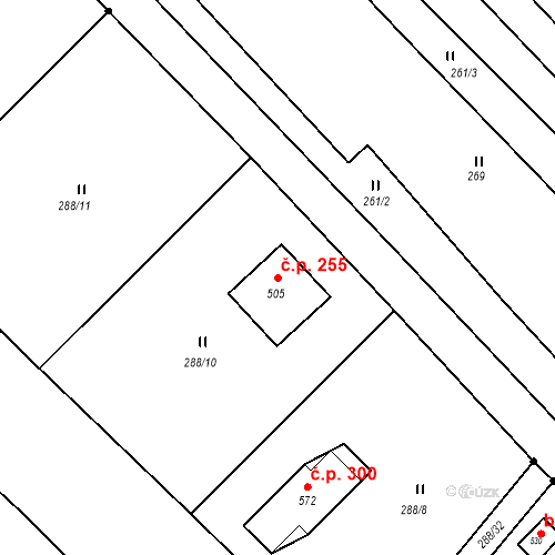Katastrální mapa Stavební objekt Jarcová 255, Jarcová
