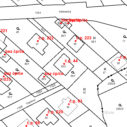 Katastrální mapa Stavební objekt Vávrovice 44, Opava