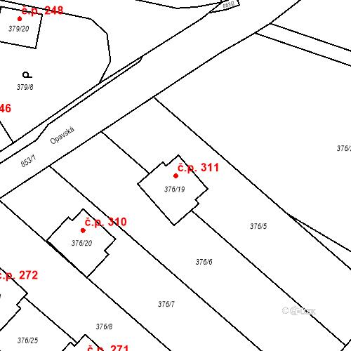 Katastrální mapa Stavební objekt Otice 311, Otice