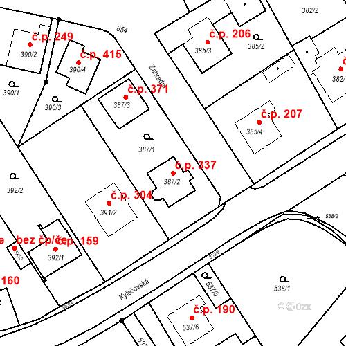 Katastrální mapa Stavební objekt Otice 337, Otice