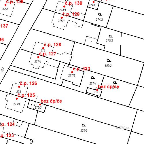 Katastrální mapa Stavební objekt Otice 323, Otice