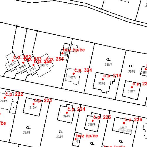 Katastrální mapa Stavební objekt Otice 324, Otice