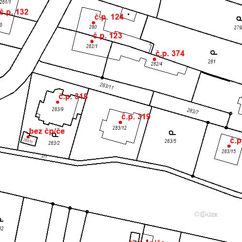 Katastrální mapa Stavební objekt Otice 319, Otice