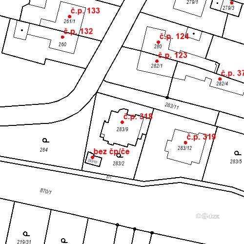 Katastrální mapa Stavební objekt Otice 318, Otice