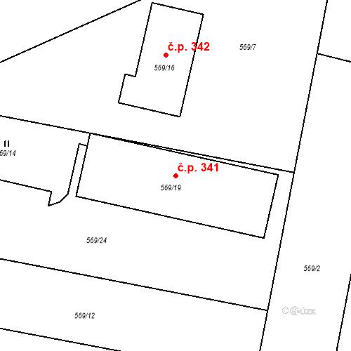 Katastrální mapa Stavební objekt Otice 341, Otice