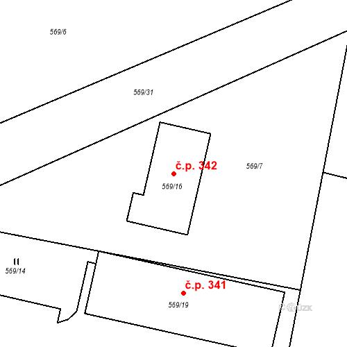 Katastrální mapa Stavební objekt Otice 342, Otice
