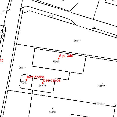 Katastrální mapa Stavební objekt Otice 340, Otice