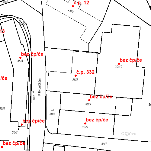 Katastrální mapa Stavební objekt Otice 332, Otice
