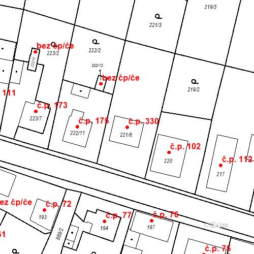 Katastrální mapa Stavební objekt Otice 330, Otice