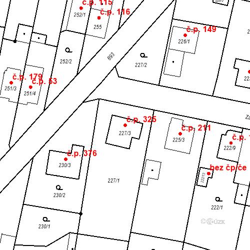 Katastrální mapa Stavební objekt Otice 325, Otice