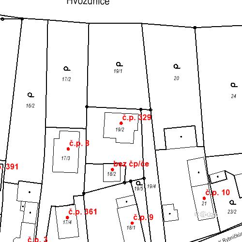 Katastrální mapa Stavební objekt Otice 329, Otice