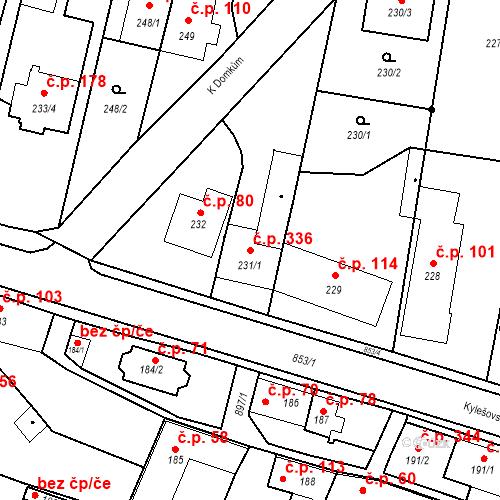 Katastrální mapa Stavební objekt Otice 336, Otice