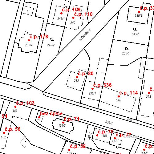 Katastrální mapa Stavební objekt Otice 80, Otice