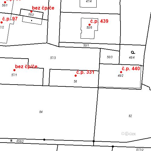 Katastrální mapa Stavební objekt Otice 331, Otice