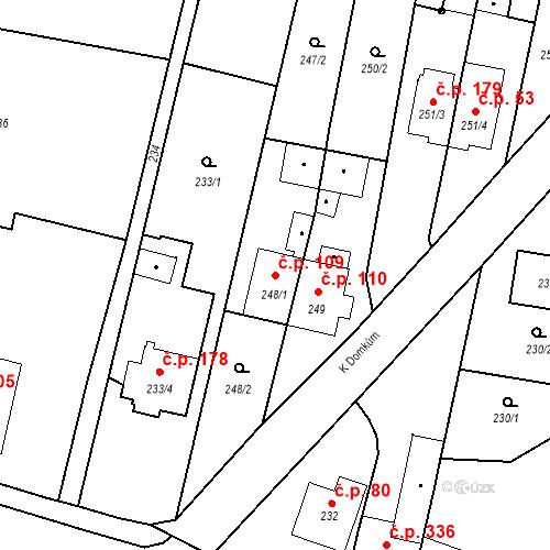 Katastrální mapa Stavební objekt Otice 109, Otice