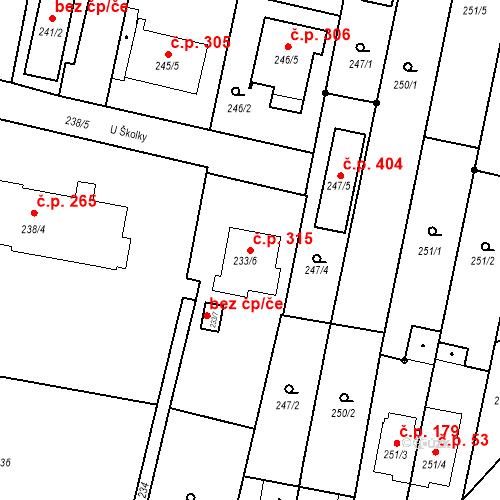Katastrální mapa Stavební objekt Otice 315, Otice