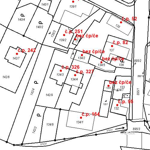 Katastrální mapa Stavební objekt Otice 327, Otice