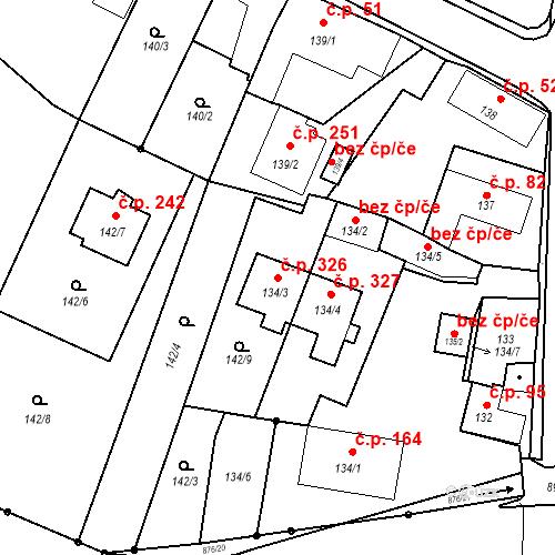 Katastrální mapa Stavební objekt Otice 326, Otice