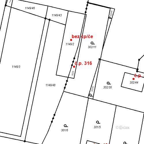 Katastrální mapa Stavební objekt Otice 316, Otice