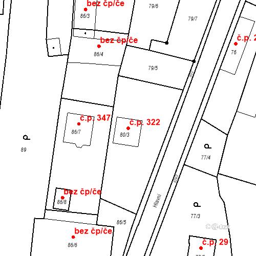 Katastrální mapa Stavební objekt Otice 322, Otice