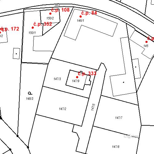 Katastrální mapa Stavební objekt Otice 333, Otice