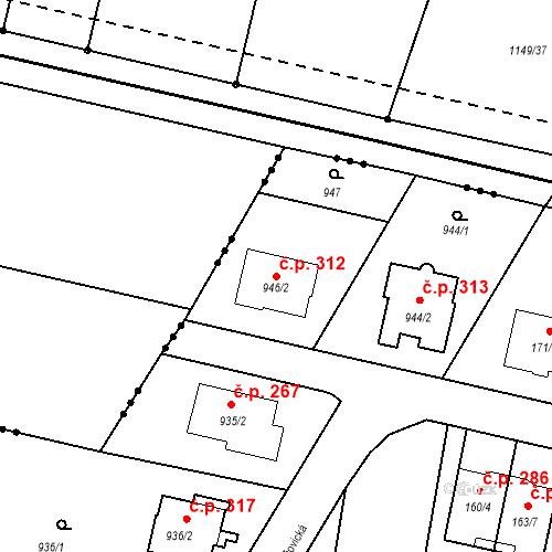 Katastrální mapa Stavební objekt Otice 312, Otice