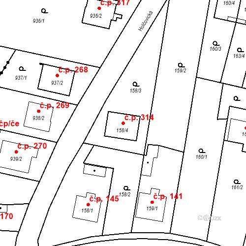 Katastrální mapa Stavební objekt Otice 314, Otice